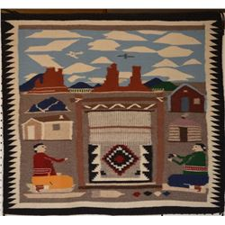 NAVAJO INDIAN PICTORIAL TEXTILE