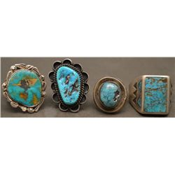 FOUR NAVAJO INDIAN RINGS