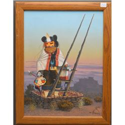 NAVAJO INDIAN PAINTING (BLACK)