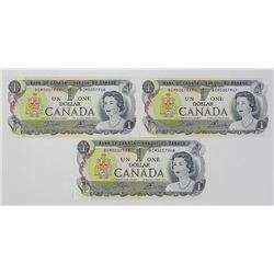 Lot (3) 1973 Canada 1.00 in Sequence Notes