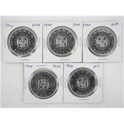 Lot (5) 1964 Canada Silver Dollars. PL64-66