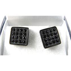 Gents Square Stud Earring Black Swarovski Elements