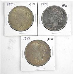 Lot (3) U.S. Silver Peace Dollars 1922-1923-1924
