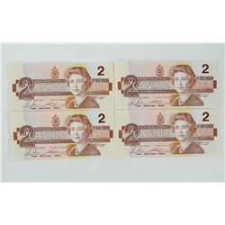 Lot (4) Bank of Canada 1986 Two Dollar Notes. UNC