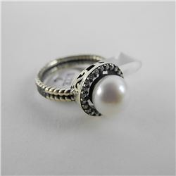 925 Silver Custom Ring Classic Pearl with Swarovsk
