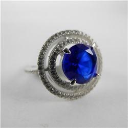 925 Silver Custom Halo Ring Round Sapphire blue Sw