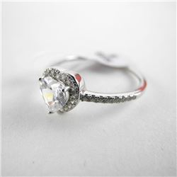 925 Silver Ring Heart Cut Swarovski Elements. Size