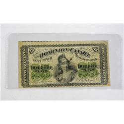 Dominion of Canada 1870 Twenty Five Cent Note