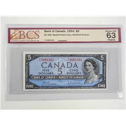 Bank of Canada 1954 Five Dollar Note Modified Port