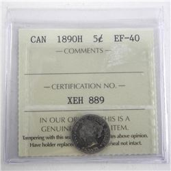 Canada 1890H 5 Cents EF40. ICCS.
