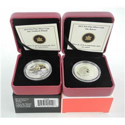Lot (2) .9999 Fine Silver $10.00 Coins 'Duck and B