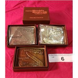 4 Boxed Double Eagle Belt Buckles