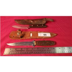 "Russel 4"" Camp Knife With Case And A Case Hunting Knife W/ Bone Handle 5"" Blade"