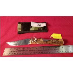 "J+M Folding Knife, Stag Handle 4"" Blade"