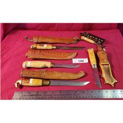 Lot Of 5 Vintage Finish Knives