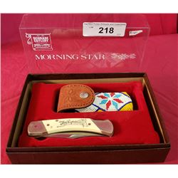 Schrade Limited Edition Morning Star With Native Motif And Beaded Pouch