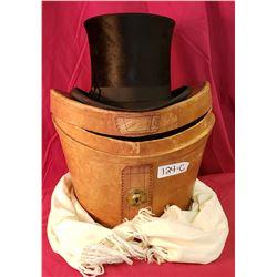 Mint Victorian Beaver Hat And Silk Scarf In Original Box