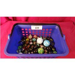 Basket Of Old Vintage Marbles