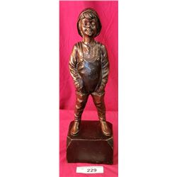 5X15 Antique Bronze Of Boy With Duckcall