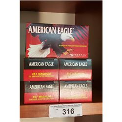 5 Boxes American Eagle 357 Magnum 158 Grain Jacketed Soft Point