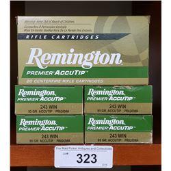 5 Boxes New Premier Accutip 20 Centre Fire Cartridges 243 Win