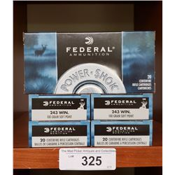 5 Boxes New 243 Win 100 Grain Soft Points Federal Ammunition