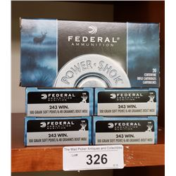 5 Boxes New Win 243 100 Grain Soft Point Federal Ammunition