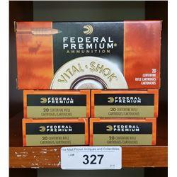5 New Boxes Federal Premium 20 Centrefire Cartridges 243 Win 85 Grain Copper
