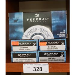 5 New Boxes 243 Win 100 Grain Soft Points Federal Ammunition
