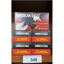 5 New Boxes American Eagle Pistol Cartridges 357 Magnum