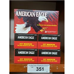 5 New Boxes American Eagle Pistol Cartridges 357 Magnum