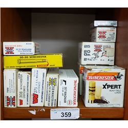 11 Mixed Winchester Boxes Consisting Of 358 Win. 375 Unprimed, 3 Boxes Of 20 Gauge, Box Of 50 Win Pi