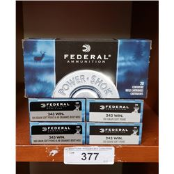 Five New Boxes 243 Centrefire Rifle Cartridges By Federal Ammunition
