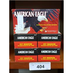 5 New Boxes 357 Magnum Pistol Cartridges By American Eagle