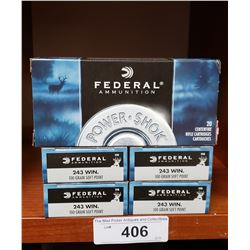 5 Boxes Of New Federal 243 Winchester 100 Grain Rifle Cartridges