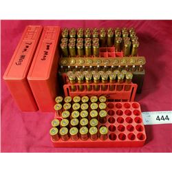 358 Winchester, 44 Remington Mag, 6.5 Carcno, 6.5X55, 1/2 Tray Of 45 Colt, Case And A Half Of 7Mm Ma
