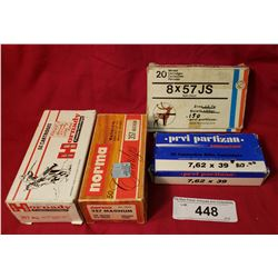 4 Boxes, Box Of 8X57 Js Softpoint, Box 7,62X39, 1 Full 357 Hornby, Box 357 Magnum Norma Hollow Point