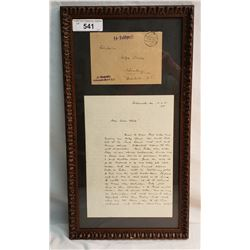 Framed Ss Letter And Envelope Sent From Buchenwald