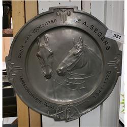 """Large Aluminium 15"""" Depicting Horses"""