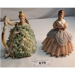 2 Large Vintage Dresden Figures