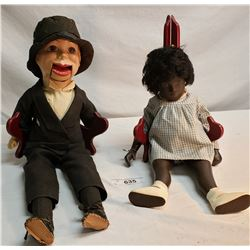 Charlie Macarthy Puppet And Black Doll