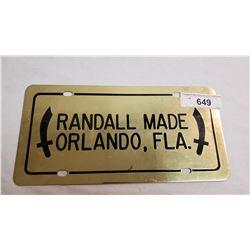 Randall License Plate