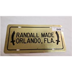 Randall License Plate