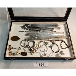 Box Of Misc Jewellry And Chopsticks