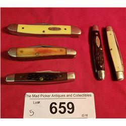 5 New Case Vintage Pocket Knives