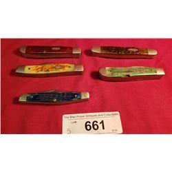 5 Multi Coloured Case Pocket Knives