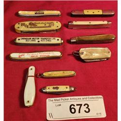 11 Assorted Mother Of Pearl Vintage Knives
