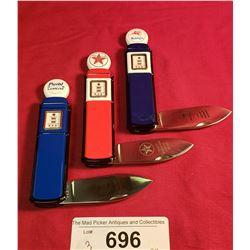 Lot Of 3 Franklin Mint Gas Pump Pocket Knives
