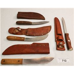 Four Assorted Knives With Sheaths
