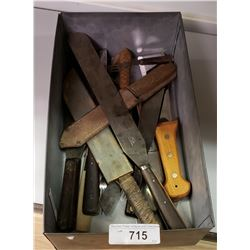 Large Tin Tray Of Vintage Tools And Knives